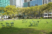 Empty Bryant Park in New York City — Stock Photo