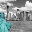 View of Lower Manhattan and Statue of Liberty — Stock Photo