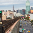 View of morning traffic on Queens Boulevard (NYC) — Stok fotoğraf