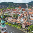 Aerial view of the old town of Cesky Krumlov — Stock Photo