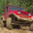 Red off-road vehicle in muddy terrain. — Stock Photo