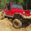 Stock Photo: Red off-road car in difficult terrain