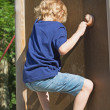 Stock Photo: Blond boy climbs climbing wall.