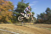 High jump on motorcycle — Stock Photo