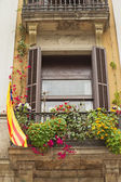 Window with a Catalan Flag. — Stock Photo