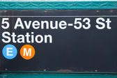 Subway Station sign.New York City (USA) — Stock Photo