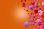 Color flowers on orange background. — Stock Photo