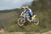 Dynamic shot of sidecars jumping — Stock Photo