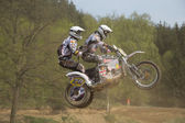 Sidecars jumping — Stock Photo