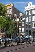 Bicycles on the bridge in Amsterdam — Stock Photo