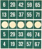 Zelené bingo karty, samostatný — Stock fotografie