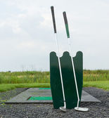 Two golf clubs standing — Stock Photo