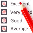 Stock Photo: Red pencil on evaluationform