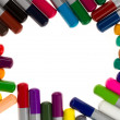 Stock Photo: Many different color pencils, frame