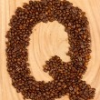 Letter Q, alphabet from coffee beans — Stock Photo #12502048