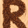 Letter R, alphabet from coffee beans — Stock Photo #12502049