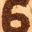 Number from coffee beans — 图库照片