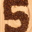 Number from coffee beans — Stock Photo #12502079