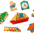 Stock Photo: Piece of an antique wooden puzzle for children