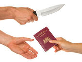Man with knife threatening a woman — Stock Photo
