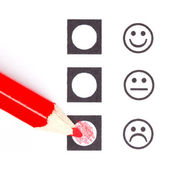Red pencil choosing the right smiley — Stock Photo