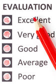 Red pencil on an evaluationform — Stock Photo