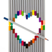 Many different color pencils, heart — 图库照片
