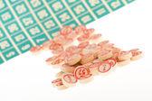 Dřevěné čísla použitá pro bingo — Stock fotografie