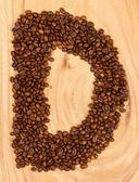 Letter D, alphabet from coffee beans — Photo