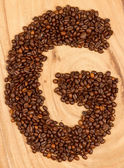 Letter G, alphabet from coffee beans — Stock Photo
