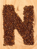 Letter N, alphabet from coffee beans — Stock Photo