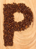 Letter P, alphabet from coffee beans — Stock Photo