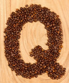Letter Q, alphabet from coffee beans — Stock Photo