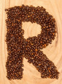 Letter R, alphabet from coffee beans — ストック写真