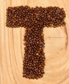 Letter T, alphabet from coffee beans — Stock Photo