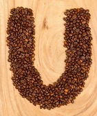 Letter U, alphabet from coffee beans — Stock Photo