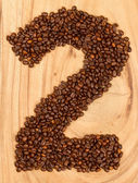 Number from coffee beans — Stock Photo