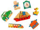 Piece of an antique wooden puzzle for children — Stock Photo