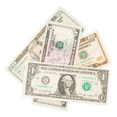 Several paper american dollars isolated — Stock Photo