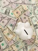 Piggy bank on dollar bills — Stock Photo