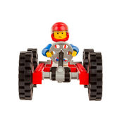 Race car with driver build from plastic building blocks — Stock Photo