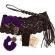 Stock Photo: Fluffy purple handcuffs, whip, money and panties, prostitution