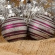 Stock Photo: Two purple Christmas balls isolated