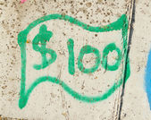 Simple green dollar bill (graffity) — Stock fotografie