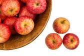 Sfondo con mele rosse fresche — Foto Stock