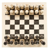Unique handmade chess set (pottery), isolated — Stock Photo
