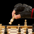 Playing chess in freefight gloves, isolated — Stock Photo #14800367