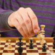 Royalty-Free Stock Photo: Chessboard with man thinking about chess strategy, isolated
