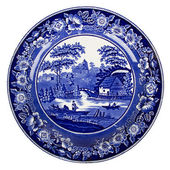 Very old dutch plate isolated — Stock Photo