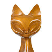 Old wooden statue of a cat — Stock Photo
